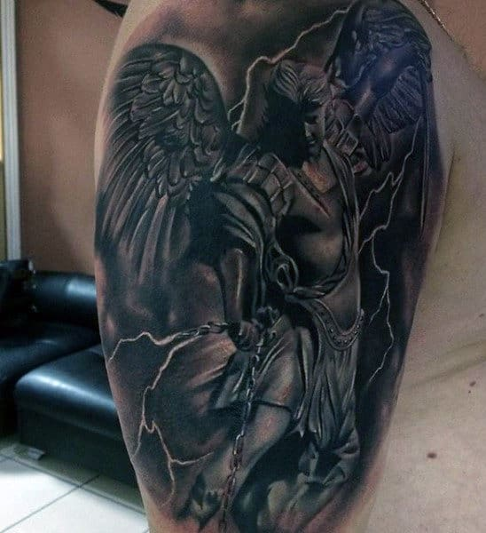 Male Arms Guardina Angel Fighting Evil Tattoo