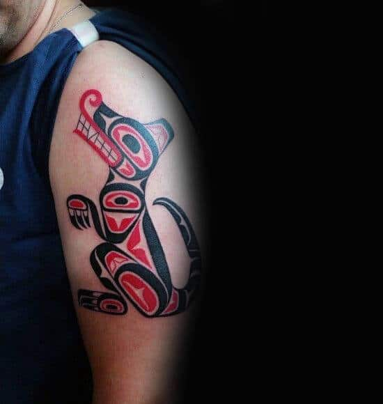 Male Arms Haida Dog Tattoo
