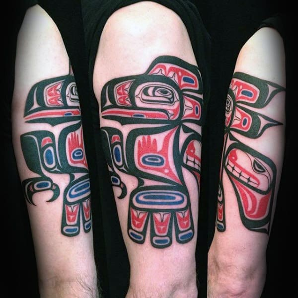 Male Arms Incredible Haida Tattoo