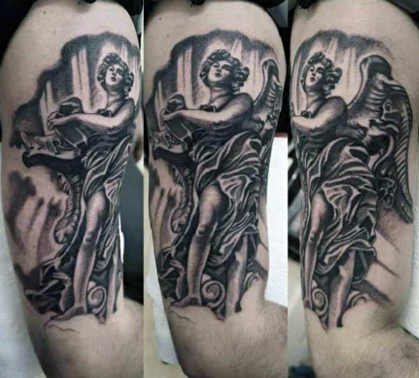 Male Arms Lovable Guardian Angel Tattoo