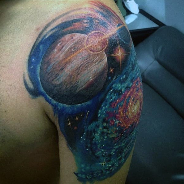 Male Arms Majestic Planet And Astronomy Tattoo