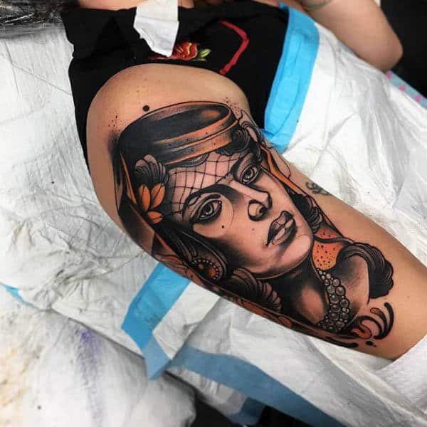 Male Arms Neo Traditional Lady Portrait Tattoo