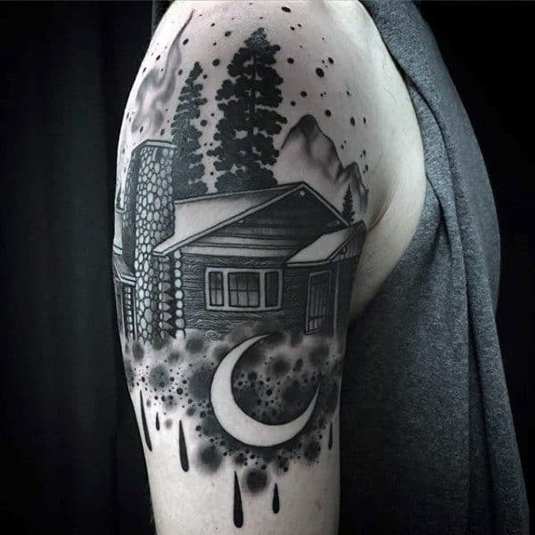 Male Arms New Moon And Cool Cottage Tattoo
