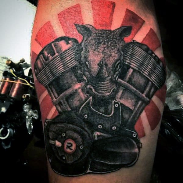 Male Arms Orange Pair Of Engines And Beast Tattoo