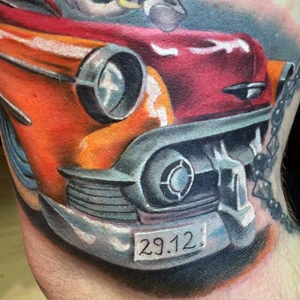 Male Arms Orange Reddish Hot Rod Tattoo