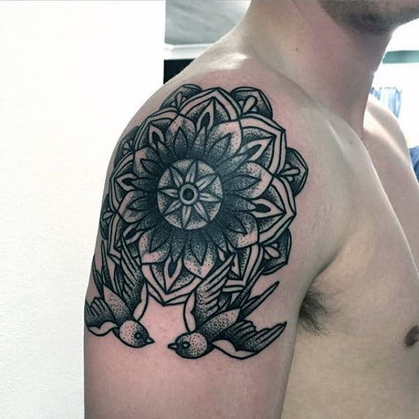 Male Arms Pair Of Birds And Floral Dotwork Tattoo