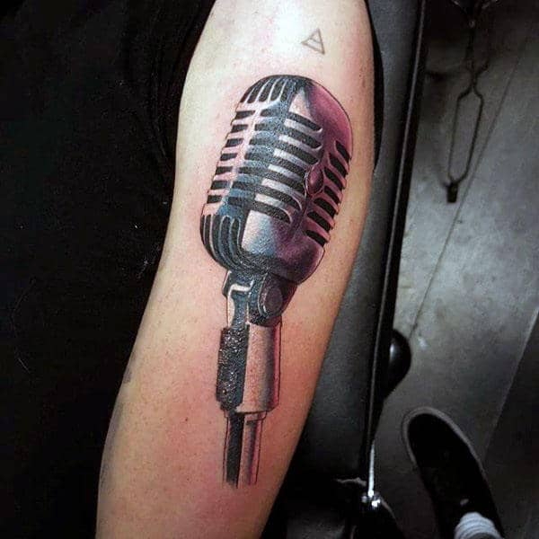 Male Arms Purple Tinted Metallic Microphone Tattoo