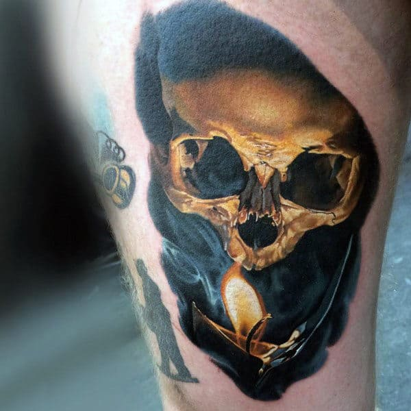 Male Arms Realistic Skull And Candle Flame Tattoo