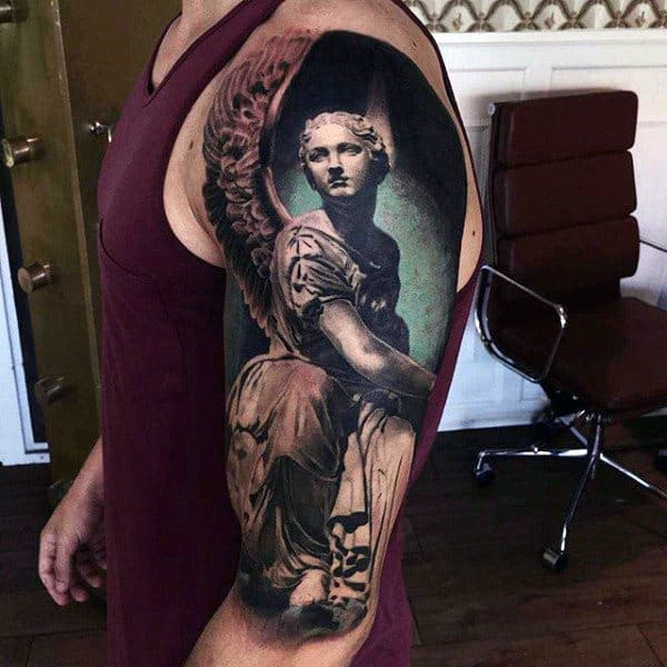 Male Arms Realistic Tattoo Of Medieval Period Woman