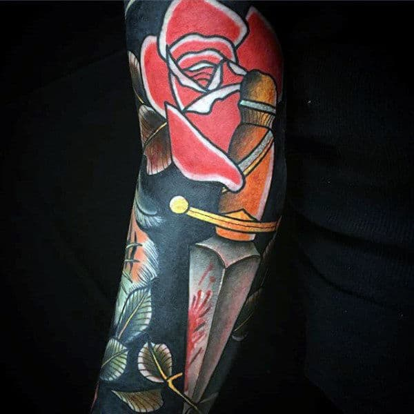 Male Arms Red Rose And Dagger Tattoo Ideas