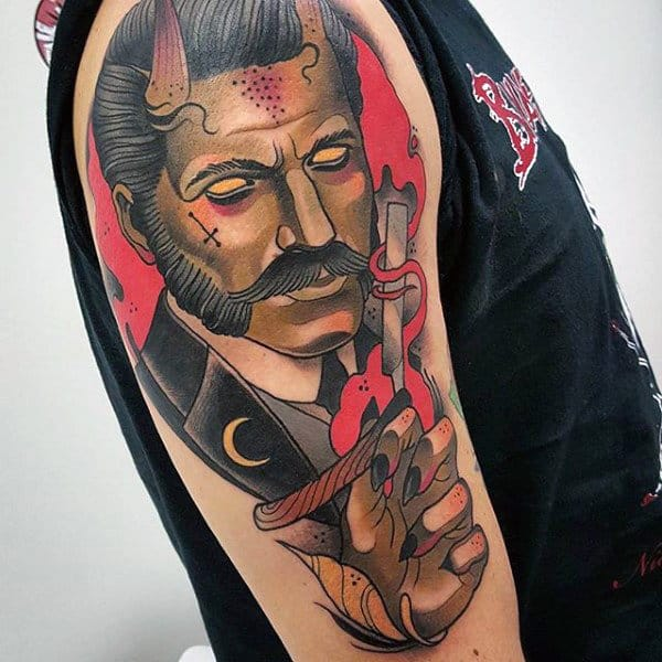 Male Arms Red Sick Man With Horns Tattoo