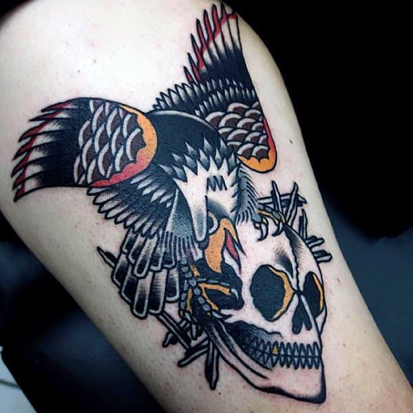 Male Arms Skull And Raven Tattoo