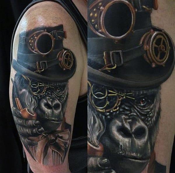 Male Arms Smoking Cool Gorilla Steampunk Tattoo