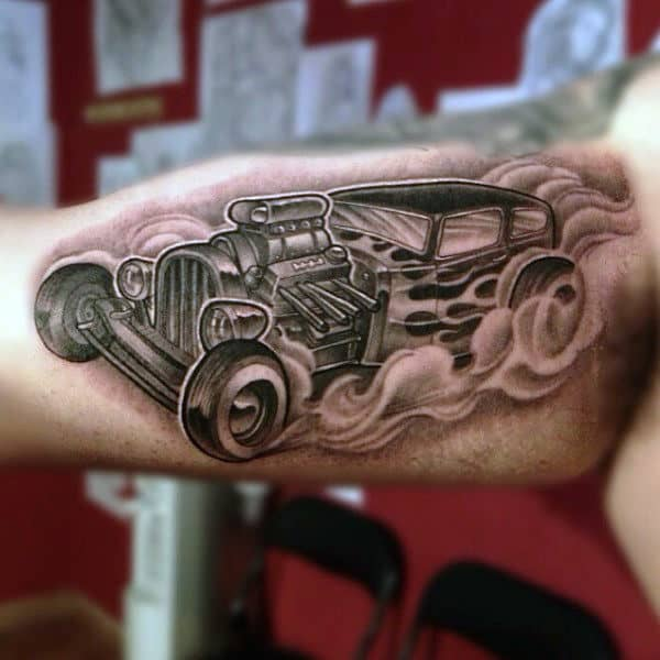 Male Arms Smoking Hot Rod Tattoo Design Idea Inspiration