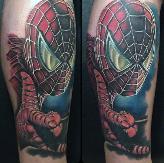 Male Arms Spiderman Tattoo