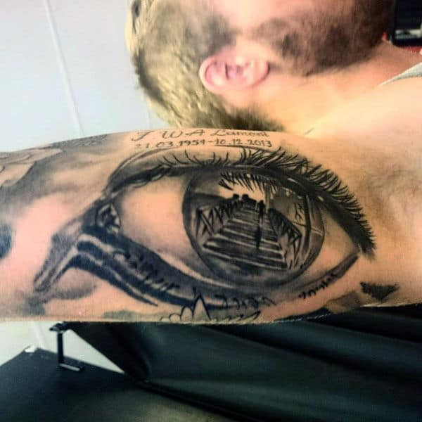 Male Arms Staircase Inside Eyeball Tattoo