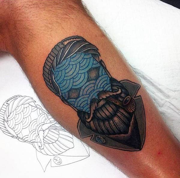 Male Arms Stenciled Pattern Neo Traditional Tattoo