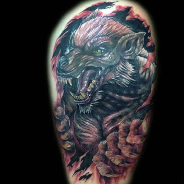 Male Arms Wrathful Werewolf Tattoo