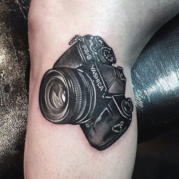 Male Arms Yashica Camera Tattoo