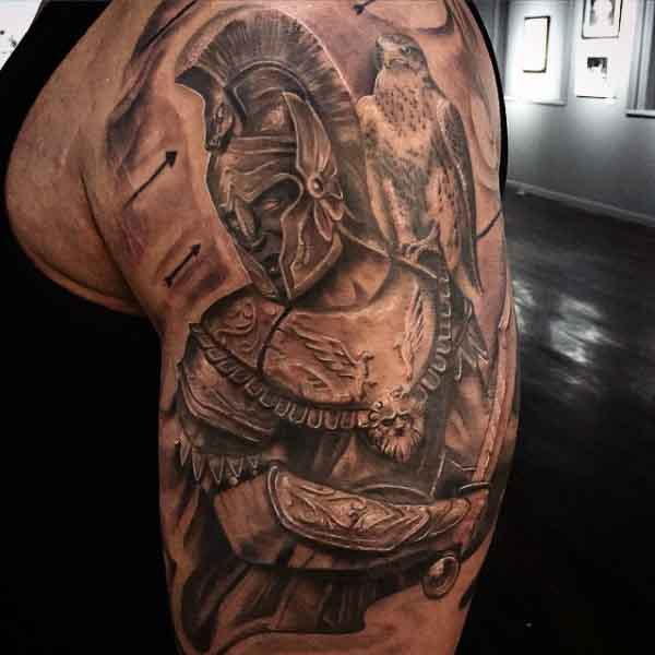 Male Army Spartan Tattoo Designs