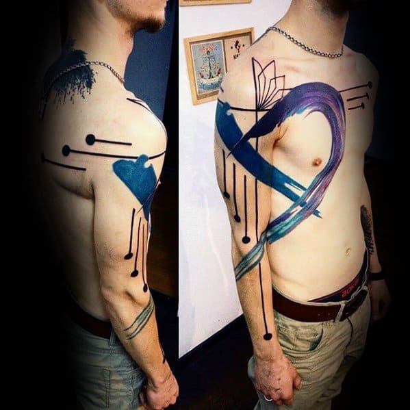 Male Artistic Artsy Arm And Chest Tattoo