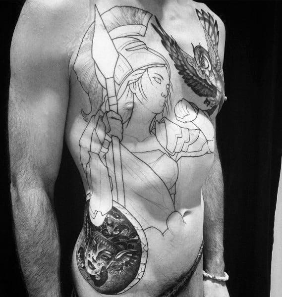 Male Athena Themed Tattoos