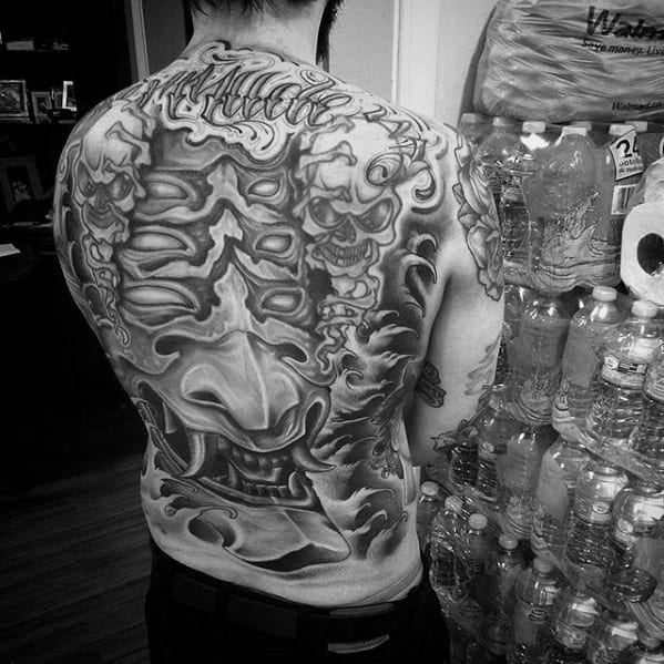 Male Awesome Demon Mask Back Tattoo Design Inspiration