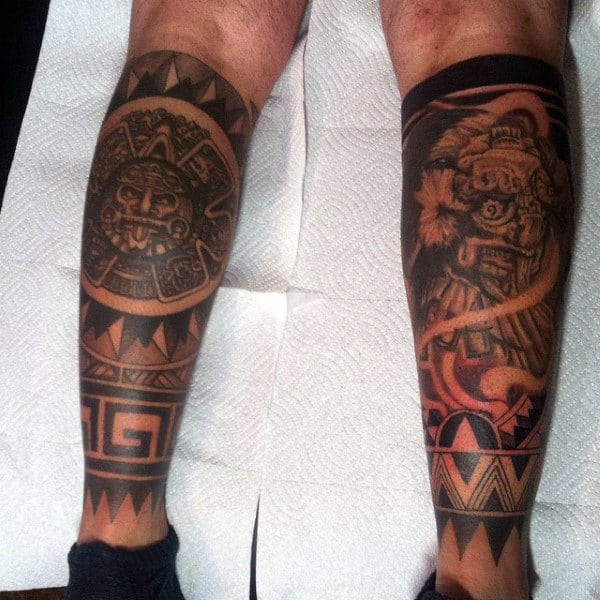 Male Aztec Tattoo Ideas On Back Of Legs