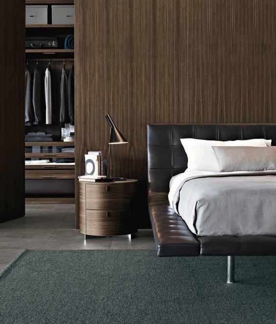 Male Bachelor Pad Bedroom With Open Door Closet