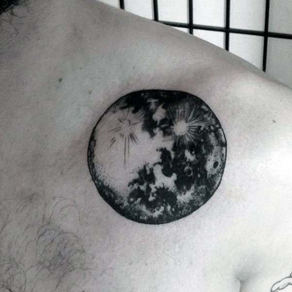 Male Back Black And White Astronomy Planet Tattoo