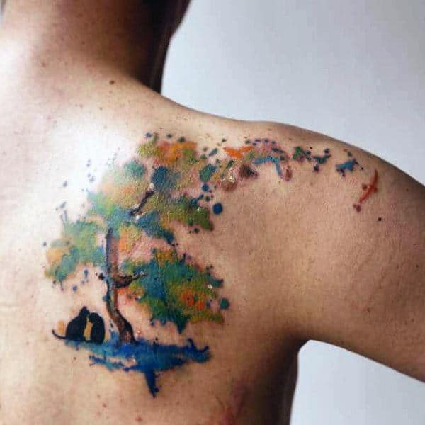 Male Back Cats And Watercolor Tree Tattoo