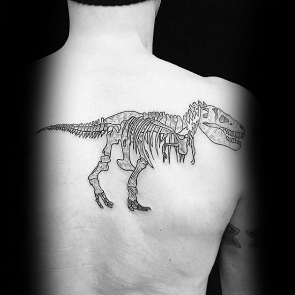 Male Back Dinosaur Skeleton Tattoo