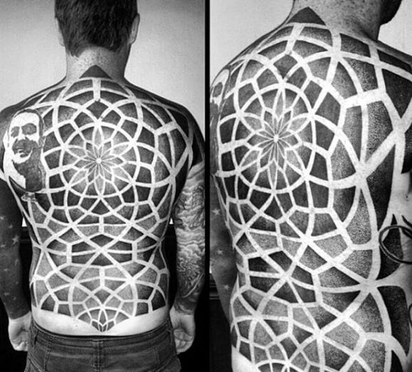 Male Back Geometric Design Tattoos