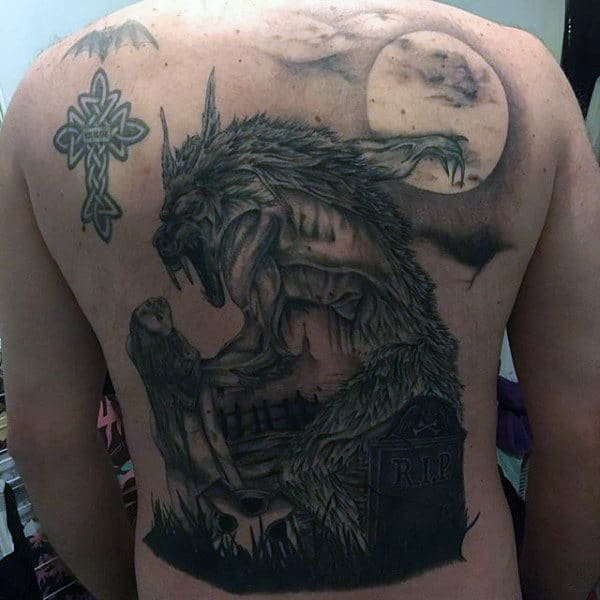 Male Back Ghostly Werewolf And Coffin Tattoo