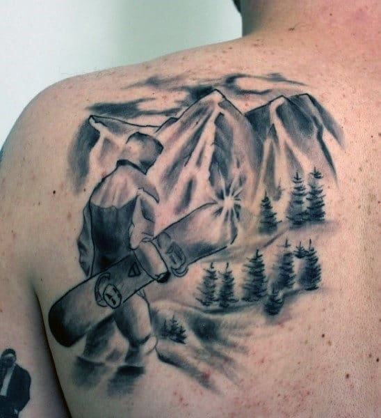 Male Back Grey Man With Snowboard Tattoo