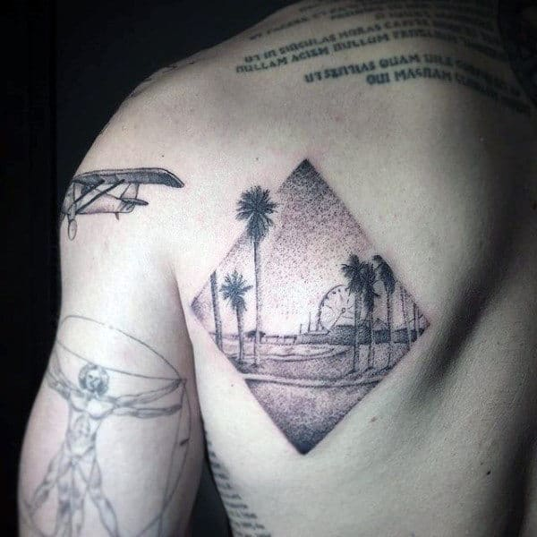 Male Back Palm Tress In Diamond Shaped Stamp Dotwork Tattoo