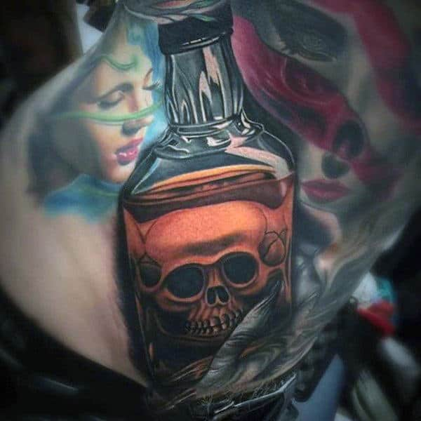 Male Back Realistic Skull Inside Glass Bottle Tattoo