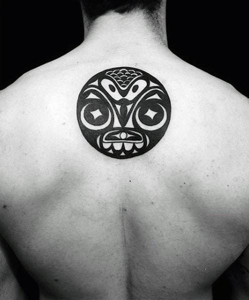 Male Back Spherical Haida Tattoo