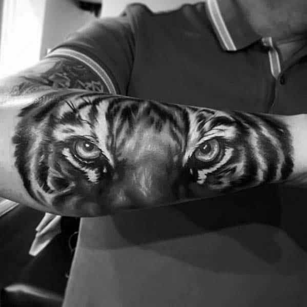 Male Badass Outer Forearm Realistic Tiger Tattoo