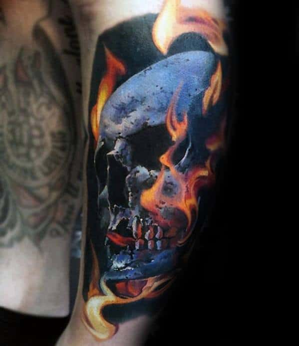 Male Badass Outer Forearm Skull Tattoo Ideas