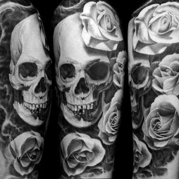 Male Badass Rose Themed Tattoo Inspiration