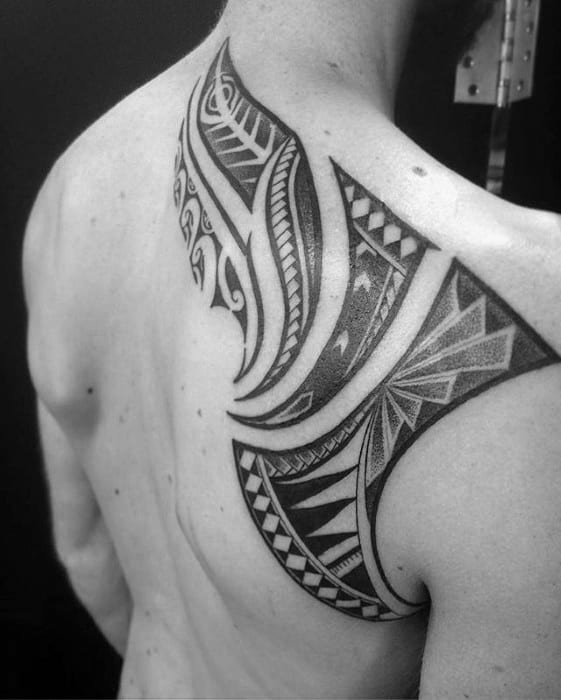Male Badass Tribal Tattoo Ideas On Upper Back
