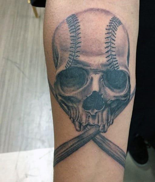 Male Baseball Bat And Skull Ball Tattoo