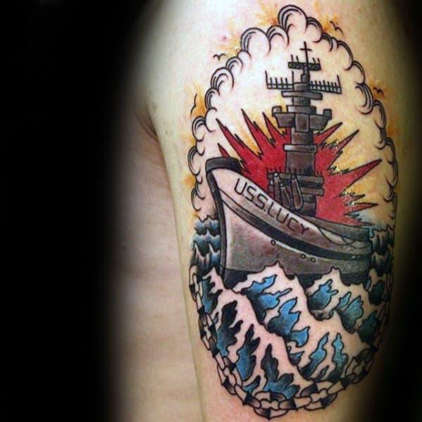Male Battleship Tattoo Ideas On Upper Arm