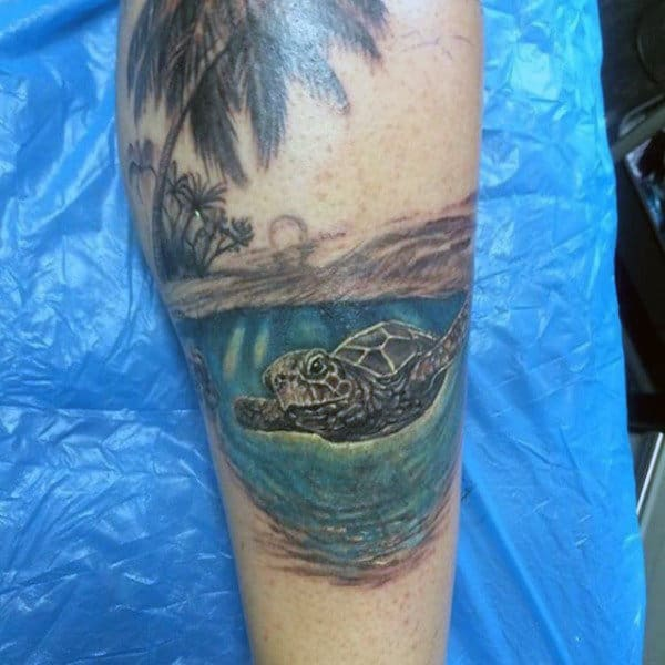 Male Beach Ocean Tattoos With Turtle On Leg