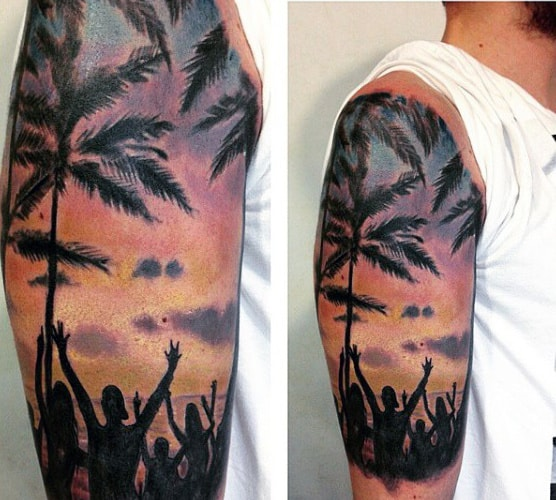 Male Beach Scene Ocean Tattoo Half Sleeve