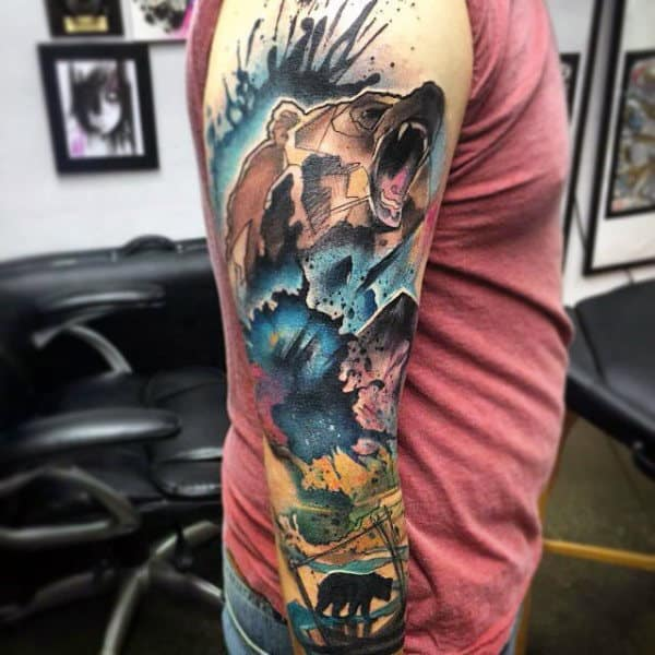 Male Bears Tattoo Sleeve In Color