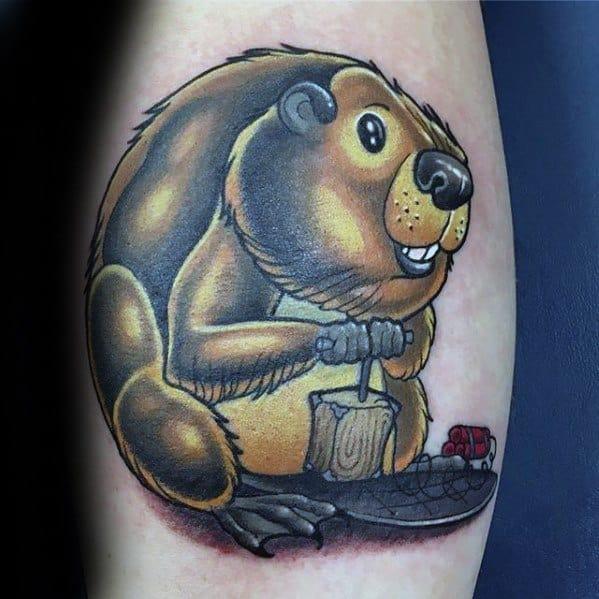 Male Beaver Tattoo Design Inspiration