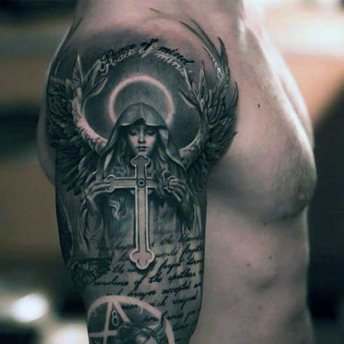 Male Bible Verse Tattoos Sleeve With Angel Holding Cross
