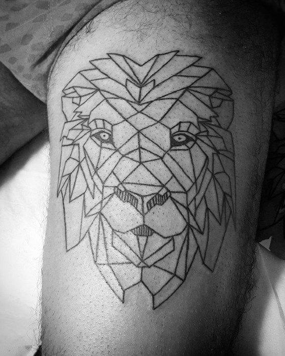 Male Bicep Geometric Lion Tattoo Ideas